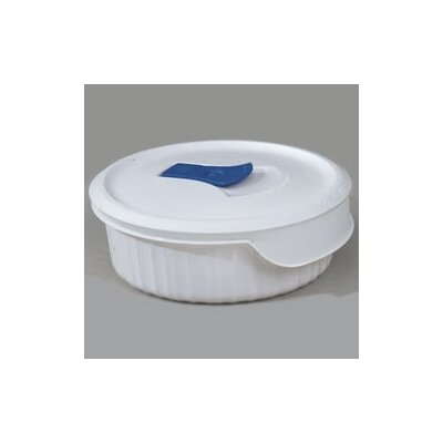 French White 24 oz. Round Dish with Vented Plastic Cover