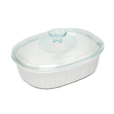 French White 1.5 Qt. Covered Oval Dish