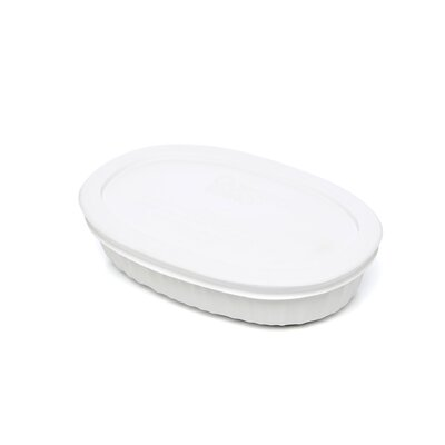 French White 15 oz. Oval Dish with Plastic Cover