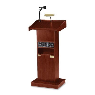 "Oklahoma Sound Corporation Presentation Lectern, 22""x17""x46"", Medium Oak/Mahogany"