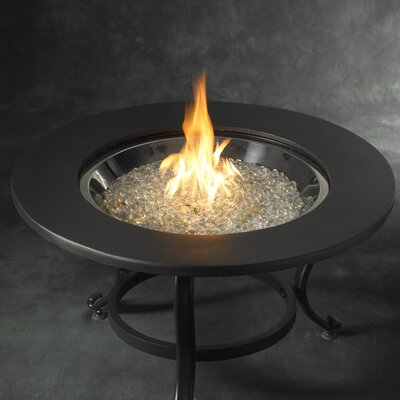 The Outdoor GreatRoom Company Tri-Pod Crystal Fire Pit with Cocoa Ring Table Top and Burner ...