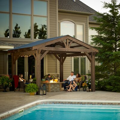 Lodge ii douglas fir 14 5 ft w x 15 ft d pergola wayfair for Great outdoor room company