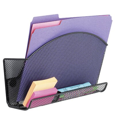 Safco Products Company Onyx Magnetic Mesh File Pocket with Accessory Organizer in Black
