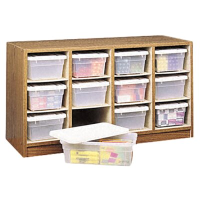 Safco Products Company Modular Wood/Plastic 12-Bin Supplies Organizer
