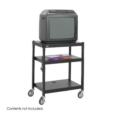 Safco Products Company Steel Adjustable Height Cart in Black