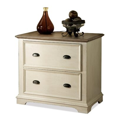Riverside Furniture Coventry Two Tone Lateral File Cabinet in Weathered Driftwood and Dover White