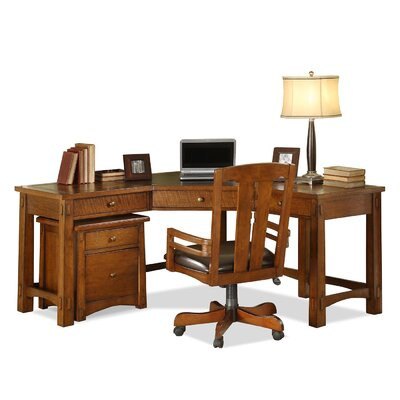 Riverside Furniture Craftsman Home L-Shape Desk Office Suite