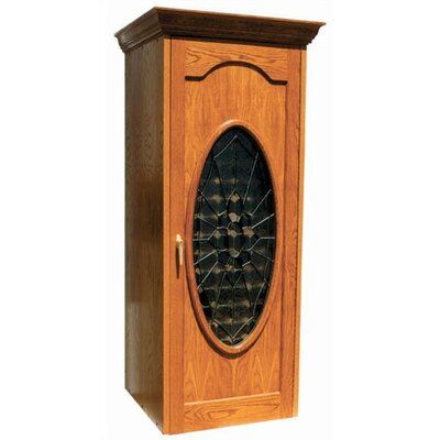 Vinotemp 250 Napoleon Oak Wine Cooler Cabinet with Oval Beveled Glass