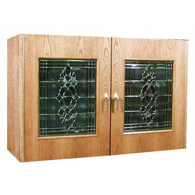 Vinotemp 2 Door Oak Wine Cooler Credenza with Decorative Glass Doors