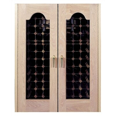 Provincial 2 Door Oak Wine Cooler with Beveled Oval Windows
