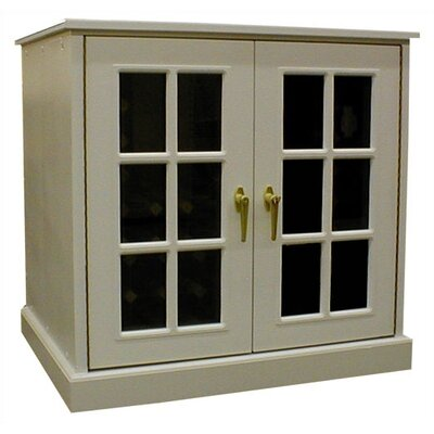 Single Door Oak Wine Cooler with French Windows