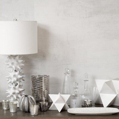 DwellStudio Crosshatch Cylinder White Decanter