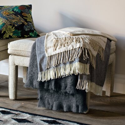 DwellStudio Raw Silk Pearl Throw
