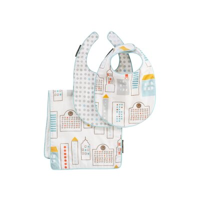 DwellStudio Skyline Bib and Burp Set in Light Blue
