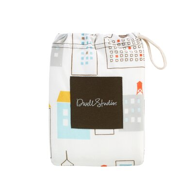 DwellStudio Skyline Fitted Crib Sheet in Light Blue