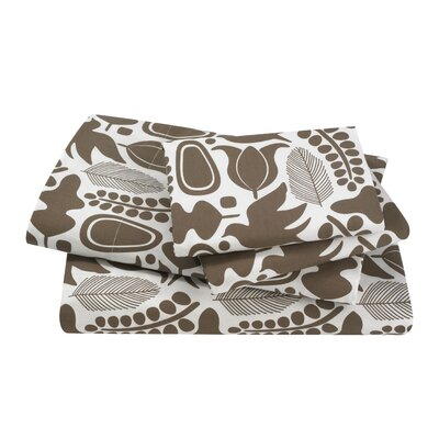 DwellStudio Silhouette Cocoa Queen 200 Thread Count Sheet Set