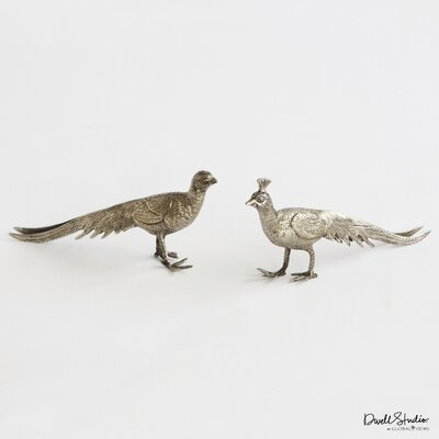 DwellStudio Pair of Metal Peacocks Sculpture