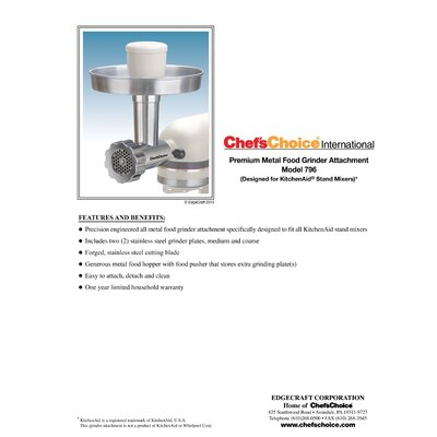 Chef's Choice Premium Metal Food Grinder Attachment