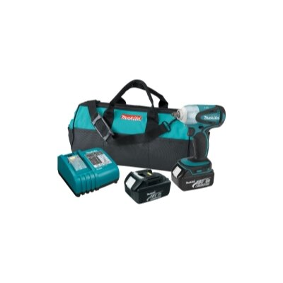 Makita 18V Lith Ion 3/8 Imp Wr Kit Case Charger & 2 3.0Ah