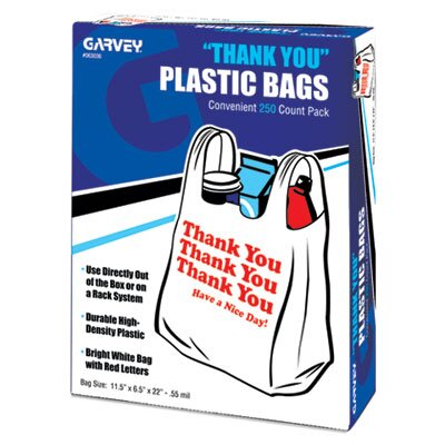 "Cosco Home and Office ""Thank You"" Bags, Printed, Plastic, .5mil, 11 x 22, White, 250/box"