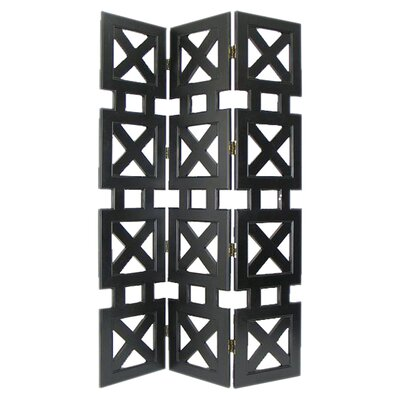 "Wayborn 78"" x 54"" Stacked Crate 3 Panel Room Divider"
