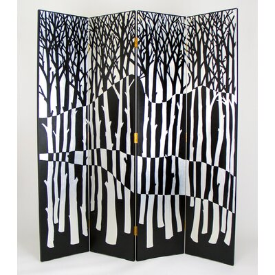 Forest 4 Panel Room Divider in Distressed Black/Silver
