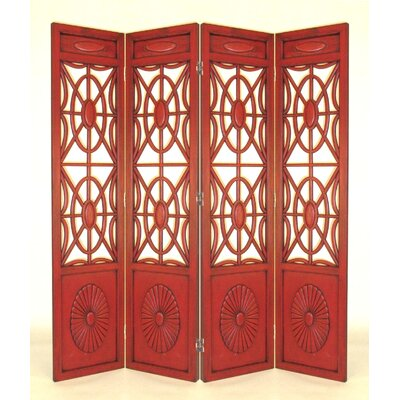 Wayborn Four Panel Gothic Room Divider in Red