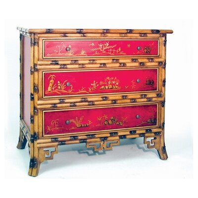 Hand Painted Oriental Bamboo 3 Drawer Chest