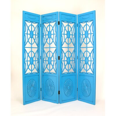 Wayborn Spider 4 Panel Web Room Divider in Distressed Teal