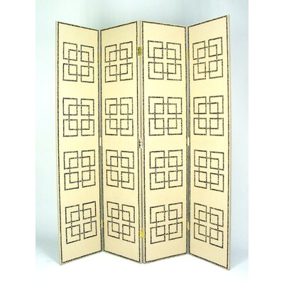 Full House Leather 4 Panel Room Divider in Distressed Light Beige