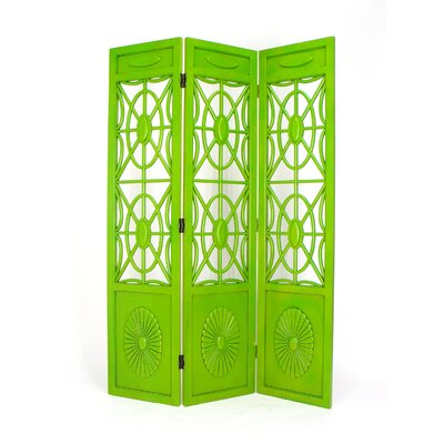 Wayborn Spider Web 3 Panel Room Divider in Distressed Green