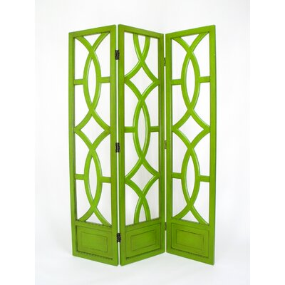 Wayborn Charleston 3 Panel Room Divider in Distressed Green