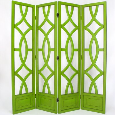 Wayborn Charleston 4 Panel Room Divider in Distressed Moth Green