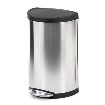 simplehuman Semi-Round Step 10.5 Gallon Trash Can with Plastic Lid