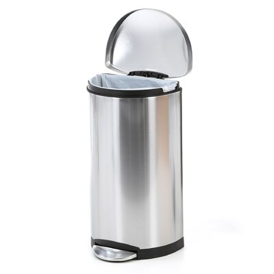 simplehuman Semi-Round Step Trash Can in Brushed Stainless Steel