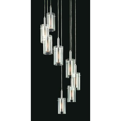 Sonneman Zylinder Contemporary 8 Light Linear Foyer Pendant