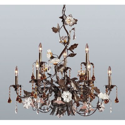 Elk Lighting Cristallo Fiore 9 Light Candle Chandelier