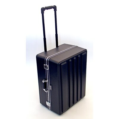 Platt Heavy-Duty Polyethylene Case with Wheels and Telescoping Handle in Black: 17.75 x 23.75 x 11