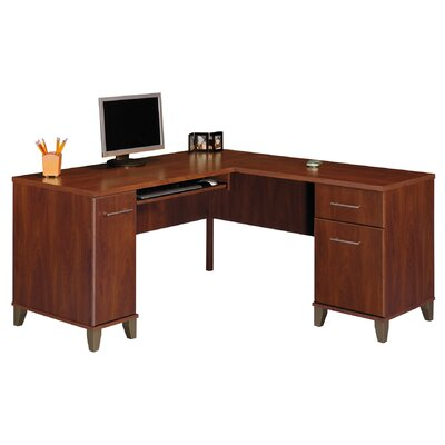 "Bush Industries Somerset 60"" W L-Shaped Desk with Keyboard Tray"