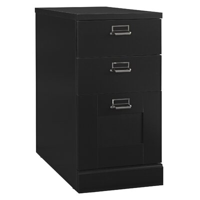 My Space Stockport Three Drawer Pedestal File Cabinet in Black