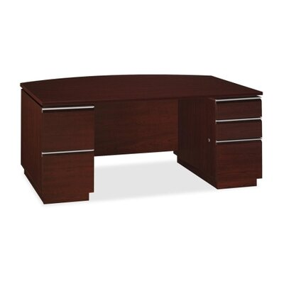 Milano 2 Double Pedestal Bow Front Desk with Optional Bookcase Hutch