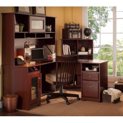 Bush Industries Cabot L-Desk with Hutch and Bookcase