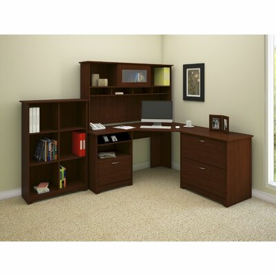 Bush Industries Cabot Corner Desk Office Suite With File & Bookcase