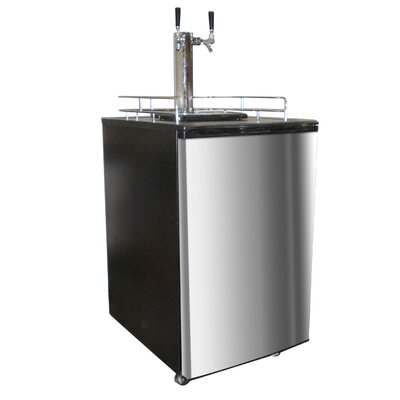 Nostalgia Electrics Double Kegorator Stainless Steel Twin Tap Beer Keg Fridge in Black
