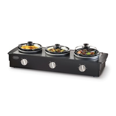 Nostalgia Electrics 2.5 Quart Triple Slow Cooker Buffet in Stainless Steel and Black