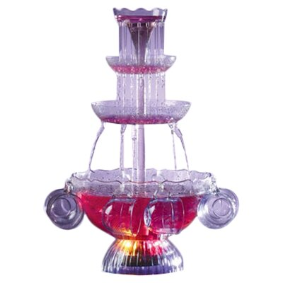 Nostalgia Electrics Vintage Lighted Punch Party 3 Tier Fountain with Cups