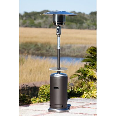 Mocha and Stainless Steel Commercial Patio Heater with Adjustable Table
