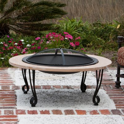 Fire Sense Cast Iron Rim Stone Finish Fire Pit