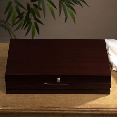 Wallace Dark Walnut Single Drawer Flatware Chest, Service for 12