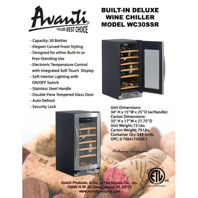 Avanti Products 30 Bottles Built-In Wine Chiller